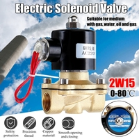 1/2 Inch AC220V Electric Solenoid Valve Normally Open Diaphragm Brass Valve for Water Air Gas