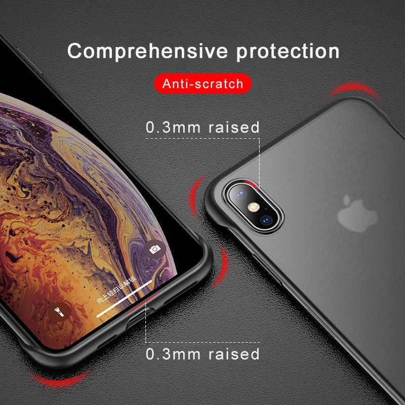 ללא מסגרת טלפון מקרה עבור iphone XS מקסימום 8 בתוספת X XS 6S 7 8 יוקרה ללא מסגרת טבעת עיצוב לשפשף קשה עבור iphone 11 פרו מקס מקרי