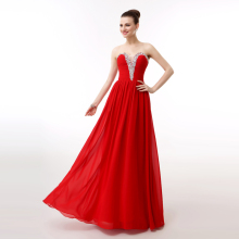 100% Actual Photos Red Long Evening Dress Sexy Chiffon