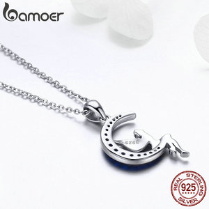 Image 5 - BAMOER Hot Sale 100% 925 Sterling Silver Lucky Fairy in Blue Moon Pendant Necklaces Women Sterling Silver Jewelry Gift SCN244