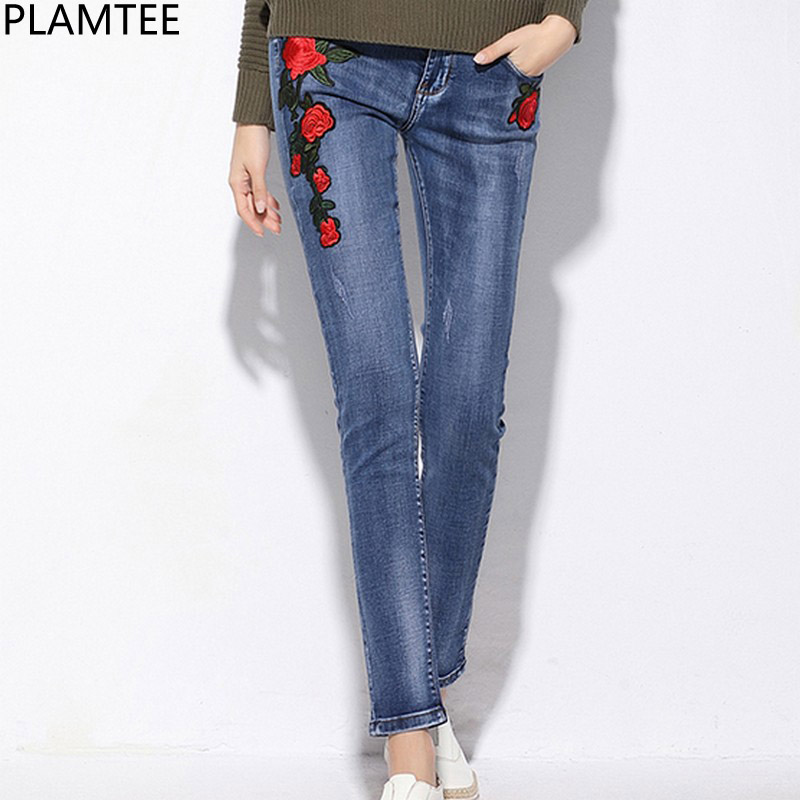 PLAMTEE Floral Embroidery Jeans For Women Elastic Pencil Denim Pants Female Skinny Jean Trousers Autumn Winter 2017 Vaqueros New free shipping women s skinny pants jeans female jeans belt clothing pencil pants elastic women s trend