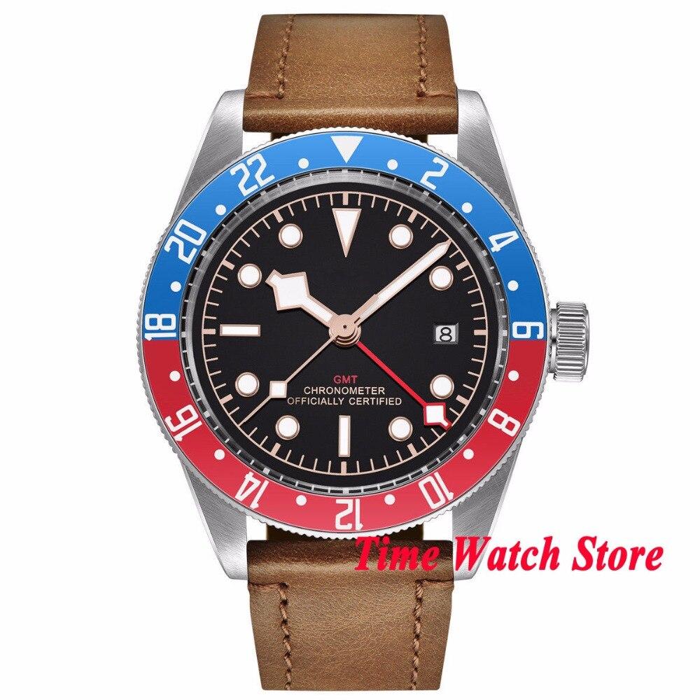 41mm Corgeut no logo GMT men's watch black dial luminous blue red Bezel sapphire glass Automatic movement wrist watch cor107 цена и фото