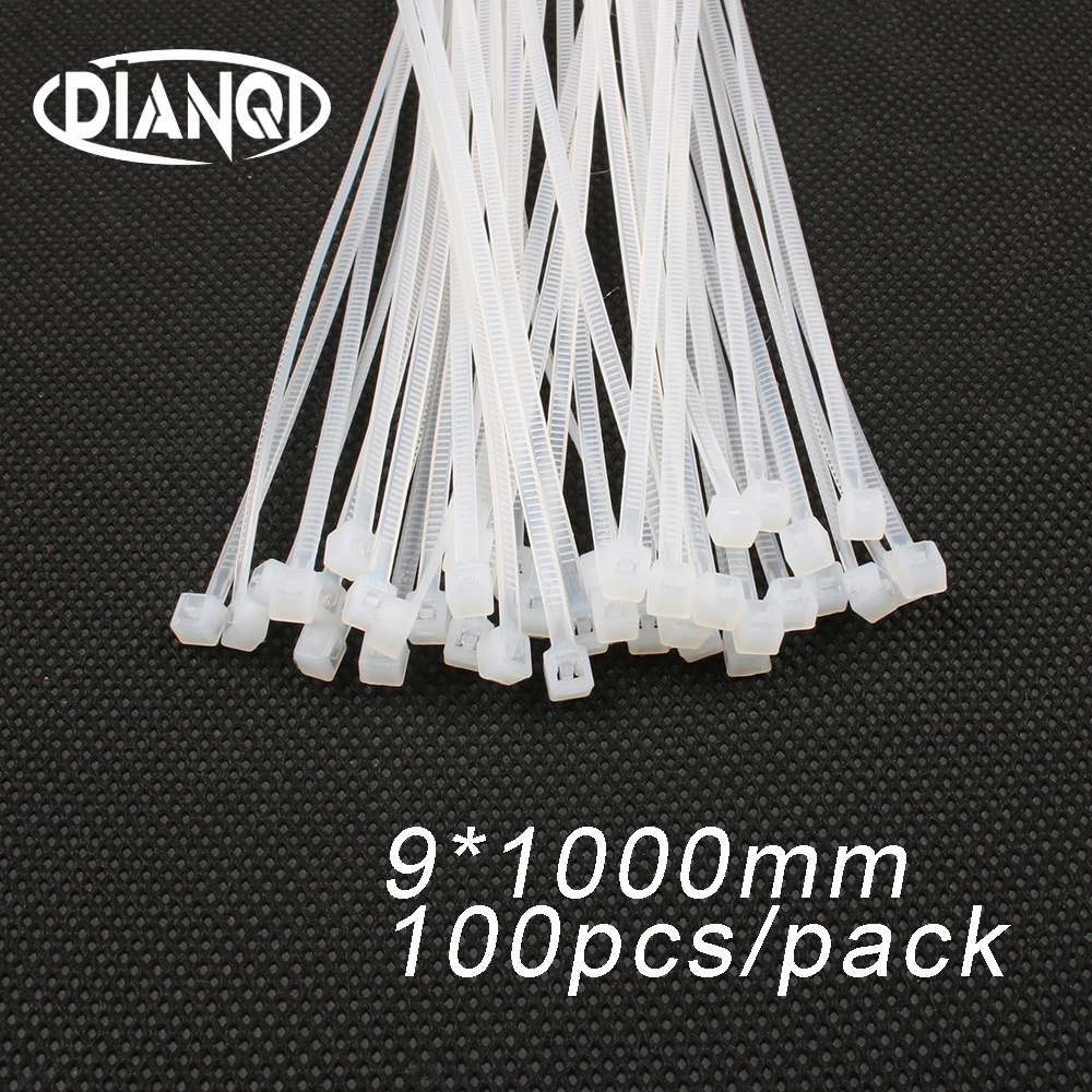 100pcs 9mm*1000mm 8.8mm Self locking Nylon Cable Ties White color Plastic Zip Tie wire binding wrap straps UL Certified цена