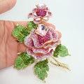 Высококачественный позолоченные двухместный розовыми цветами арт деко брошь красивая женщина розовый кристалл горный хрусталь цветок