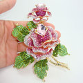Alta qualidade de luxo banhado a ouro duplo Rose flores Art Deco de cristal Rhinestone flor rosa broche bonito
