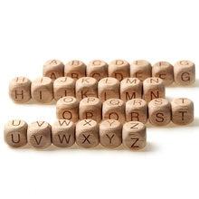 20 unids/lote 12mm de madera cuadrado carta alfabeto haya Natural cuentas de madera para joyería DIY bebé collar de juguete