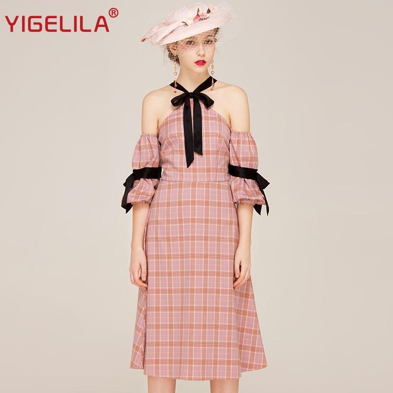 Plage Manches Lanterne Sexy Nouvelles Femmes Casual De Yigelila Robe Halter Mode Plaid Rose Marque Encolure 62340 Dernières Iv0qIWc7Pw