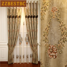 European top 4D brown floral window curtains for living room with high quality Voile Curtain upscale hotel villa bedroom