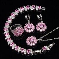 الوردي الزركون خواتم فضة 925 مجوهرات الزفاف مجموعات النساء الأقراط بالحجارة قلادة وقلادة أساور مجموعة من المجوهرات هدية مربع