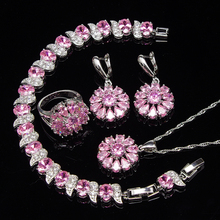 ФОТО 925 sterling silver pink topaz jewelry sets for women sliver earrings/rings/pendant/necklace/bracelets free gift box