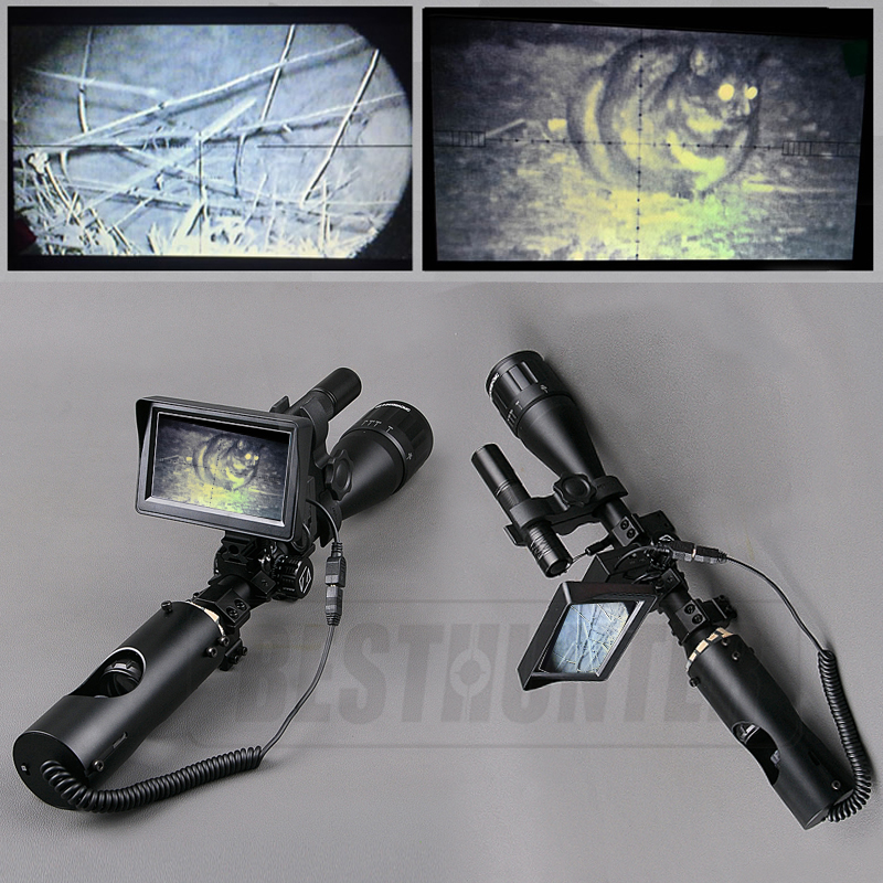 Tactical 6-24x50 Hunting Scopes Optics Sight Night Vision Riflescope Tactical Digital Infrared With Battery Monitor Flashlight