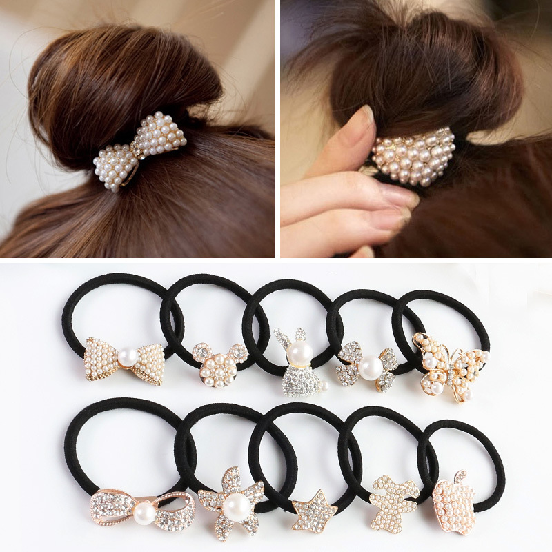 Fashion Bow Heart Rabbit Pearl Elastic Hair Bands For Women Girls Hair Accessories Alloy Clips Korean Cute Ties Hair Scrunchies