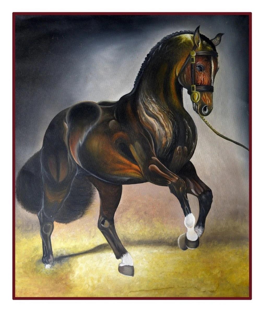Arabian Horse Painting Handmade Modern Art Natures Wildlife Animal On Canvas Free Shipping Painting Calligraphy Aliexpress