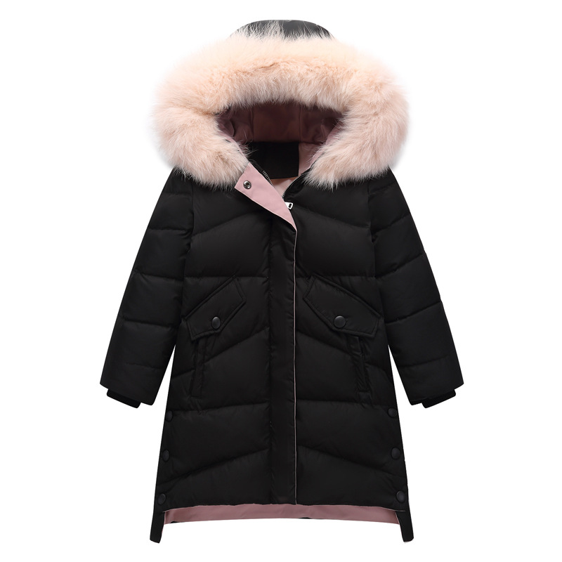 Children Winter Duck Down Jacket For Girls Thickening Warm Down Jackets Fur Collar Hooded Outerwear Coats 5 7 9 11 13 15 Years