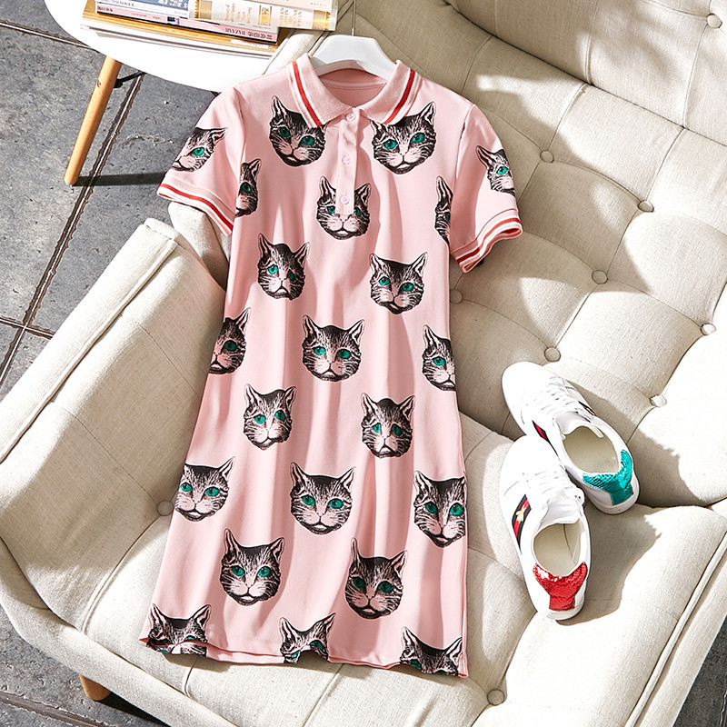 New 2018 spring summer fashion women cute striped collar dress cute cat cartoon print pink dresses preppy style short sleeve baitclothing women cute spring