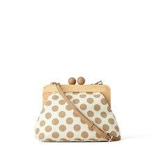 Bolso de mano con Clip de madera de lunares para mujer, bandolera Retro de lona, de diseñador, tipo mensajero