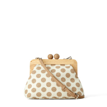 Dot Wooden Clip Bags for Women Canvas Womens Shoulder Bag Retro Crossbody Designer Brand Ladies Clutch Purse Messenger