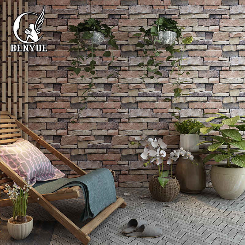 Vintage Vinyl PVC 3D Brick Wallpaper Roll Waterproof 3d Stone Wallpapers Hotel Living Room Background wall