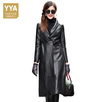 100% cuero genuino mujeres chaqueta cinturón largo piel de oveja abrigo femenino 2019 Otoño Invierno moda Slim abrigos largos alta calidad XXXL