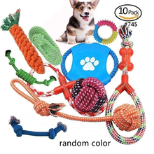 1 Set Dog Chewing Toys Chew Gift Pet Rope Flying Discs Toy Durable Braided Bone Training 4-10 Pcs