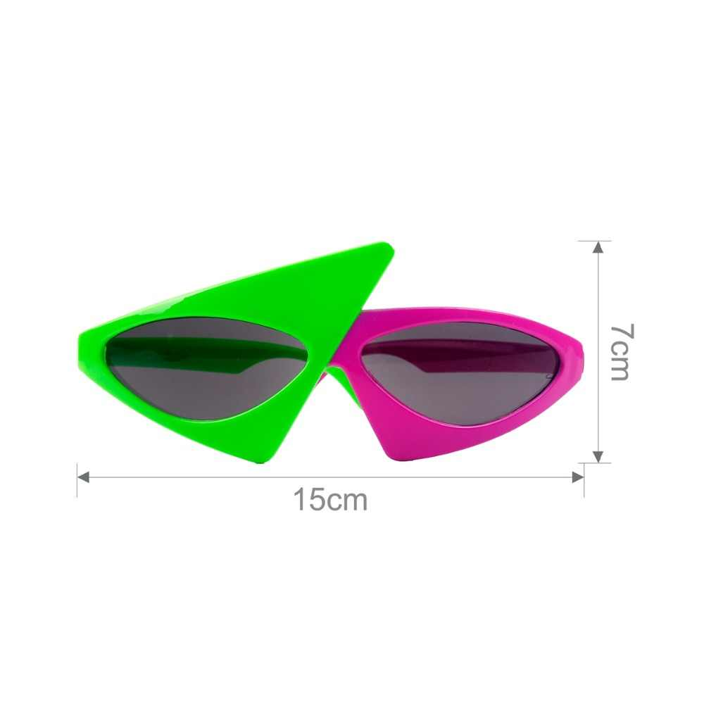 8b699f412d ... FENGRISE Kids Novelty Glasses Green Pink Contrast Funny Roy Purdy  Glasses Hip-Hop Asymmetric Triangular ...
