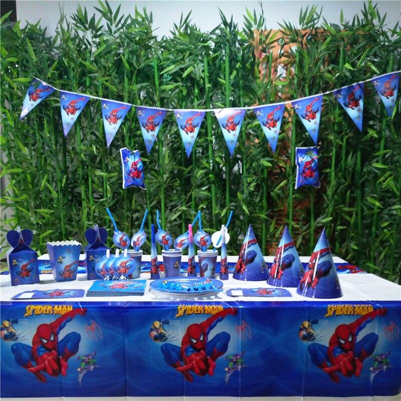 132 pièces drapeaux nappe pailles tasses assiettes tasse serviette Spiderman fête fournitures enfants anniversaire super-héros fête fournitures décoration