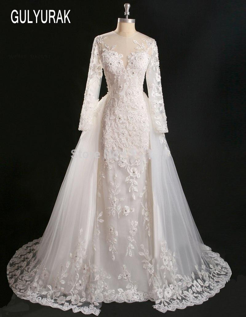 Vestidos De Novia 2017 Lace Detachable Skirt Wedding Dress with Removable Skirt Off Shoulder Wedding Gown