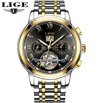 New Luxury Brand LIGE Automatic Mechanical Watch Men Fashion Gold Full Steel Sport Waterproof Business Watches Relogio Masculino