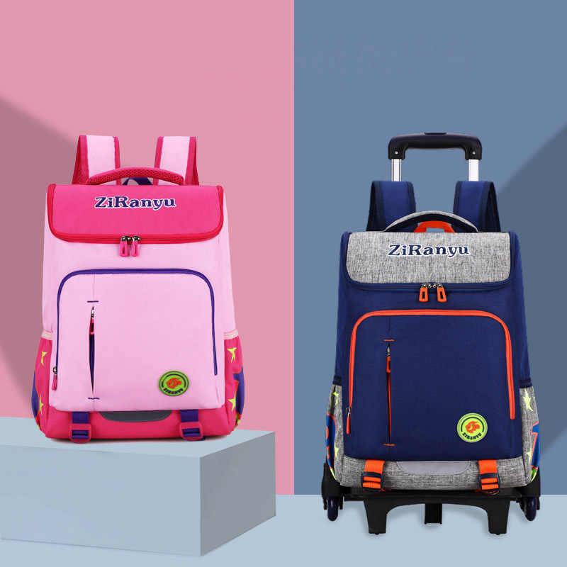 Kids Travel Trolley Backpack On wheels Boys Girl's Trolley School bags Children's Travel luggage Rolling Bag School Backpacks