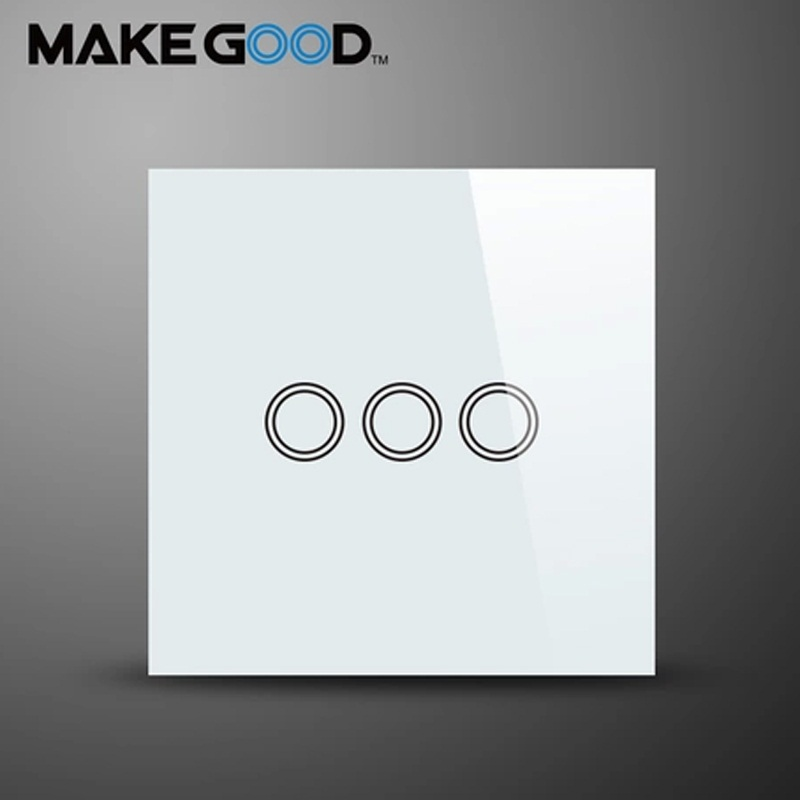 MakeGood EU Standard Touch Switch 3 Gang 1 Way Crystal Glass Panel Wall Switch AC 110-250V/1000W for Light makegood uk standard 2 gang 1 way smart touch switch crystal glass panel wall switch ac 110 250v 1000w for light led indicator