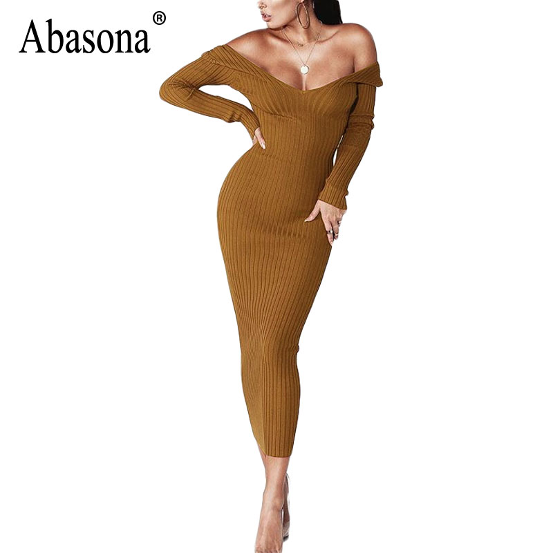 Abasona Women Autumn Winter Dresses Long Sleeve Sexy Knitted Women Dress Long Off The Shoulder Bodycon Dresses Ribbed Robe Femme stylish off the shoulder ribbed crop top for women