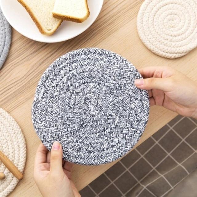 2pcslot Mat Cotton Placemat Coasters Mat Pot Pad Coaster Round