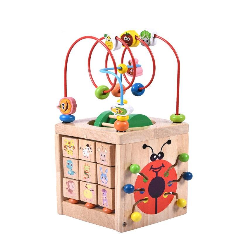 Montessori Math jouet jouets en bois pour enfants Multi fonction boulier horloge perles jouet éducatif enseignement aides pour enfants bébé