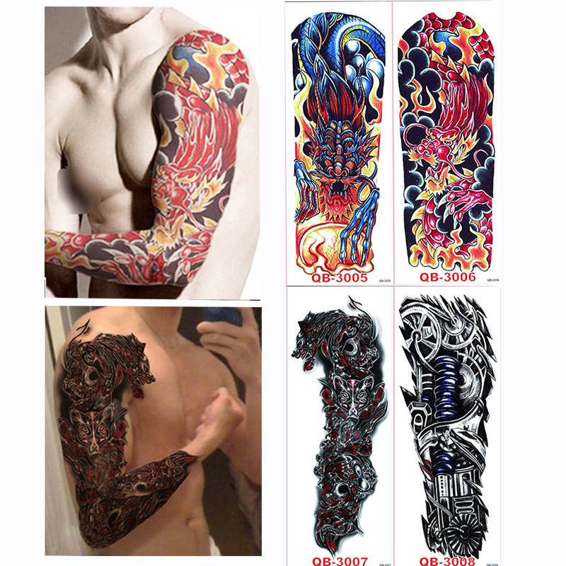 4pcs/set Large Big Temporary Tattoos Stickers Full Arm Cool Fake Tattoo Sleeves Designs Black Fire Death Skull Rose Complete Range Of Articles Beauty & Health Temporary Tattoos