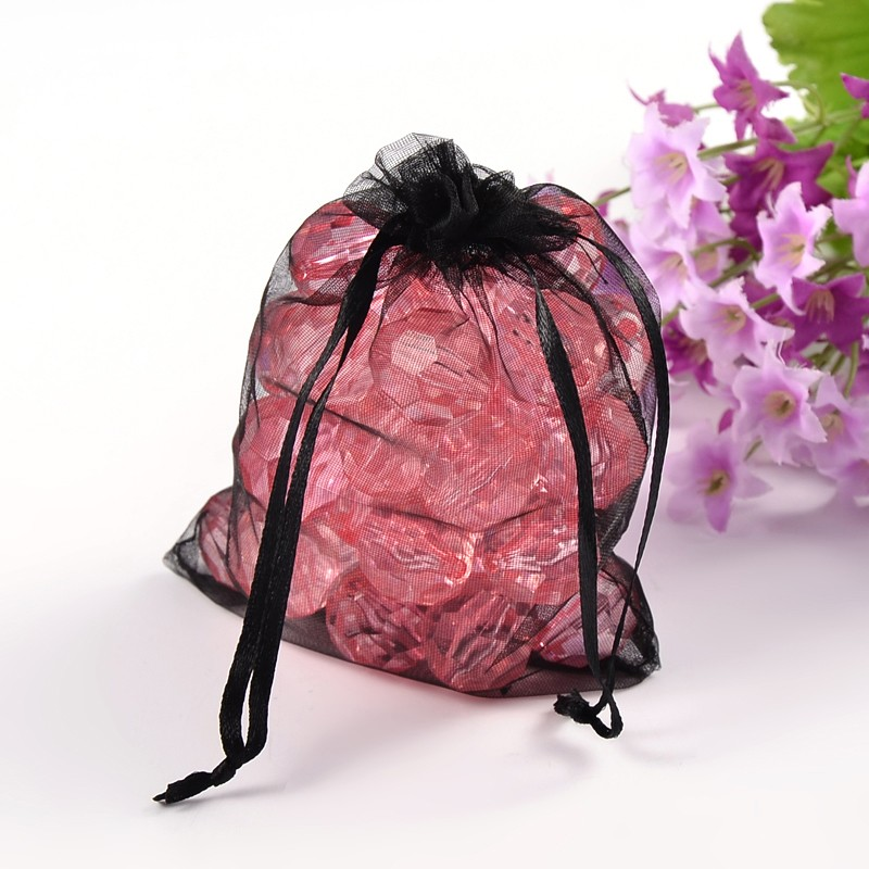 200pcs Black Organza Bags For Christmas Jewelry Gift Packaging 12x10cm