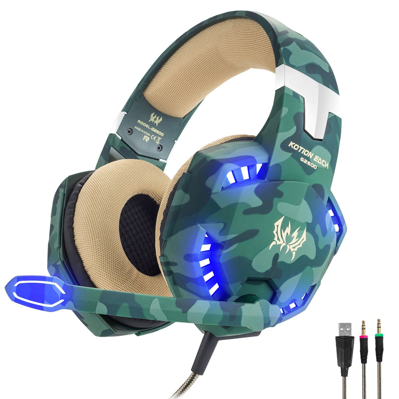 Professional 3.5mm Wired Stereo Camouflage Gaming Headset Gamer Earphone casque