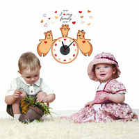 3 Love Bear Wall Paste Quiet Clock Sticker Creative Colorful Diy Children Bedroom Decoration Wall Clock