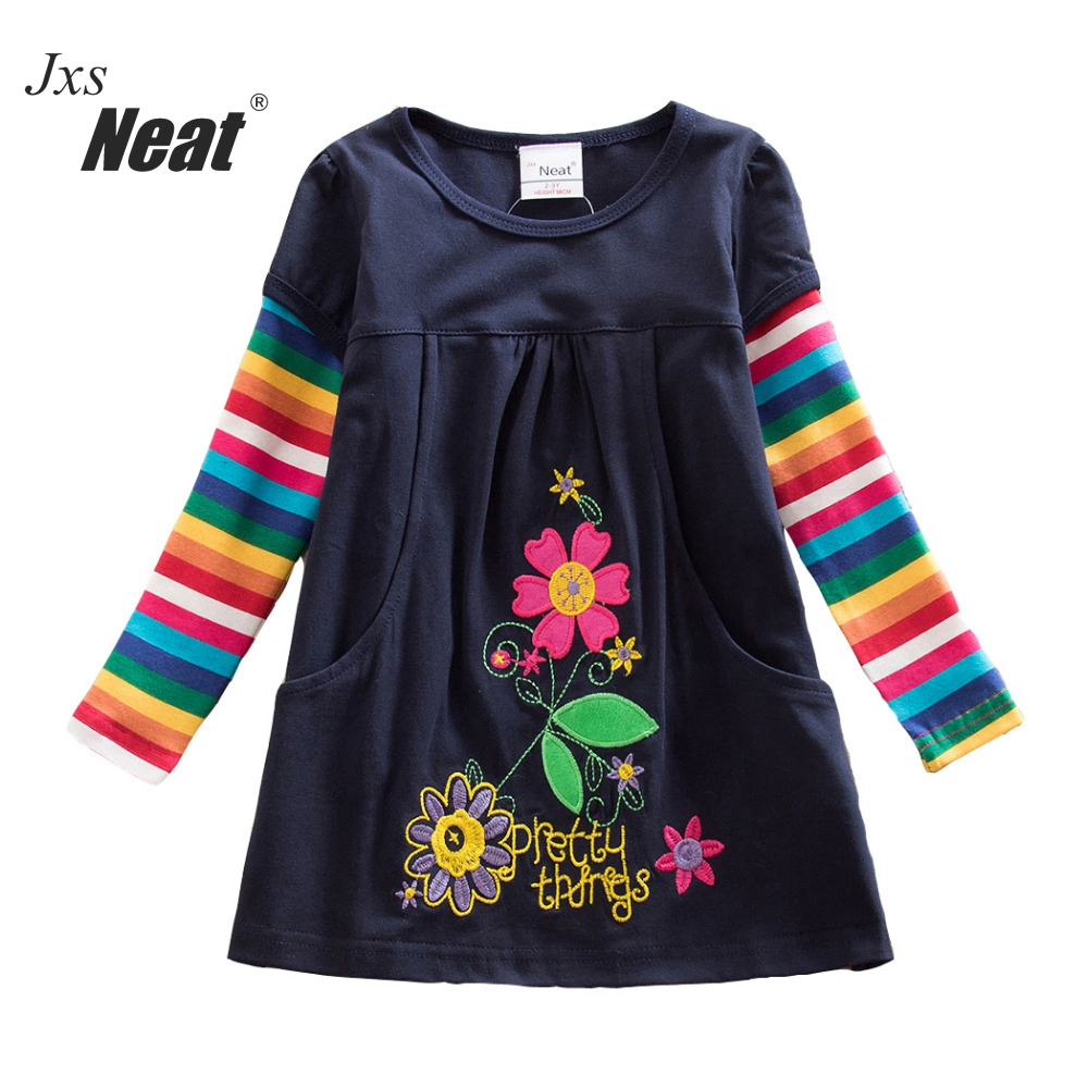 Mädchen Langarm Kleid Kind Kostüm Kind Kleid Mädchen Langarm Floral Mädchen Kleid ein Wort Baumwolle Kleid Mädchen H5802