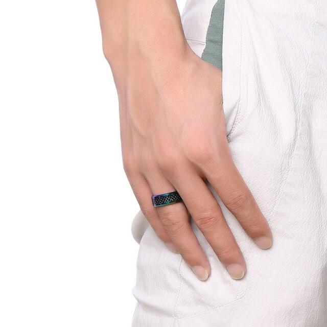 Meaeguet Muti-Colore In Fibra di Carbonio Uomini Anello di Cerimonia Nuziale di Marca 8 MM di Larghezza Carburo di Tungsteno 2.6 MM di Spessore Anello Alla Moda Gioielli maschili