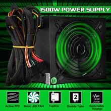1500W Power Supply 140mm LED Fan 24 Pin PCI SATA ATX 12V PC Computer Power Supply Support AMD Win7(China)