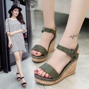 Image 2 - Women Super High Sandals Summer Platform Shoes Woman Gladiator Style Wedges Open Toe Female Fashion Footwear SH030809