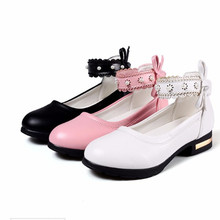 Black Pink White Childrens leather Shoes Girl High heeled Princess Dancing shoes Kids Wedding Party Shoes For Girls 4 5 6 7-14T босоножки no pink crystal high heeled princess shoes