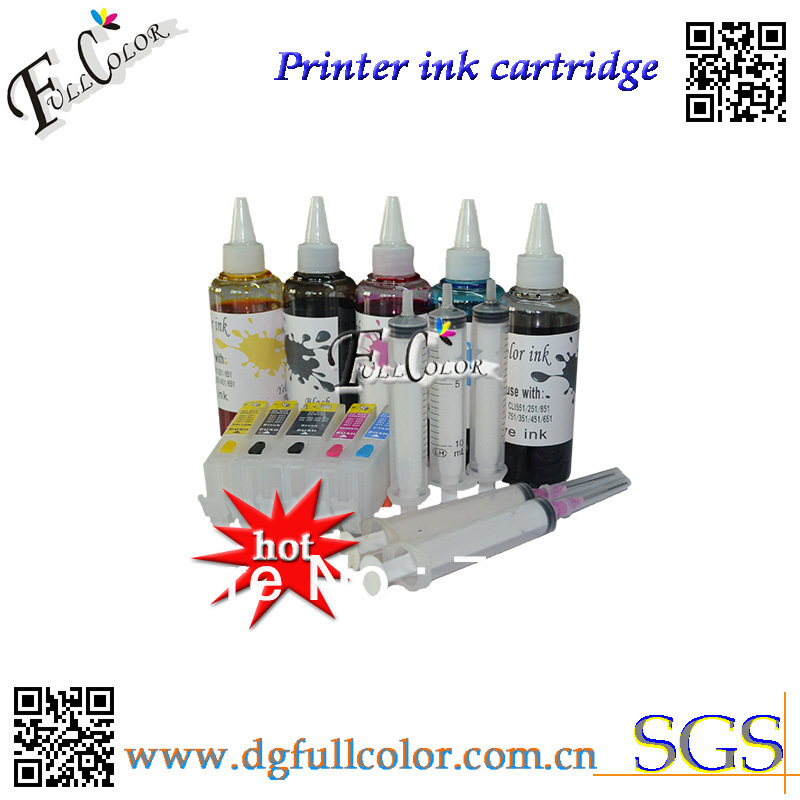 Free Shipping 5 Color Set Refill Bottle Ink And Refillable Cartridge With Chip For MG5460 IP7260 Printer Ink Refill Kits free shipping printer t157 cartridge refill pigment ink for r3000 printer ink cartridge