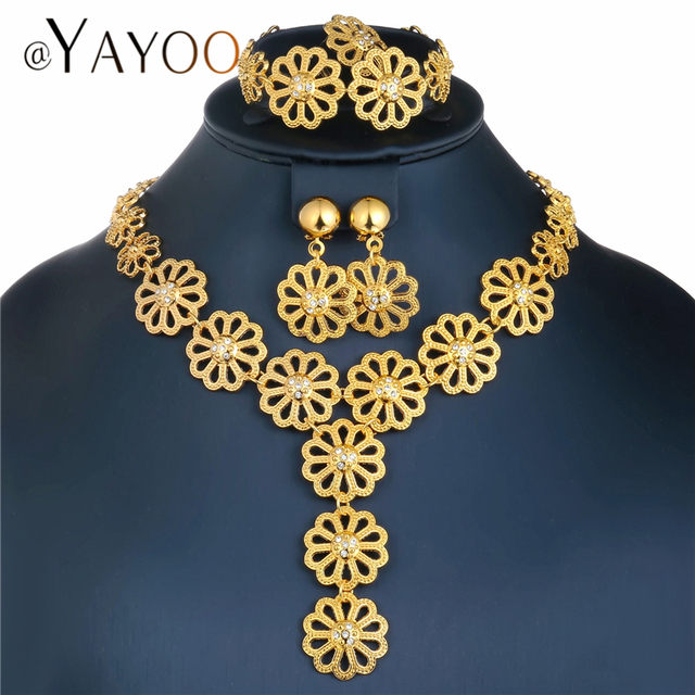 AYAYOO Big Dubai Jewelry Sets For Women Flower Necklace Set Gold Color African B