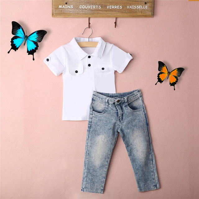 Baby Children Clothes Set 2pcs Toddler Kids Baby Boy White Blouse T-shirt Top+Jeans Pants Trousers Clothes Outfits Summer Sets