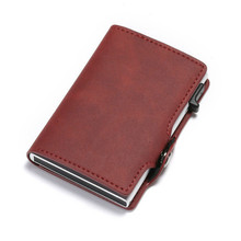 BISI GORO RFID Blocking Vintage Automatic Leather Credit Card Holder Metal Aluminum Business ID Cardholder Slim Wallet Purse rfid blocking 100% genuine leather credit card holder men aluminum metal business id cardholder multifunction slim mini wallet