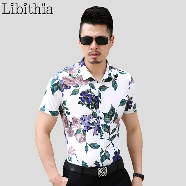 Men 100% Mercerized Cotton Thin Dress Shirts Slim Fit Men's Floral Shirt Large Size 5XL 6XL 7XL Short Sleeve Blouses Summer S246