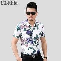 Men 100% Mercerized Cotton Thin Dress Shirts Slim Fit Men's Floral Shirt Large Size 5XL 6XL 7XL Short Sleeve Blouses Summer S246