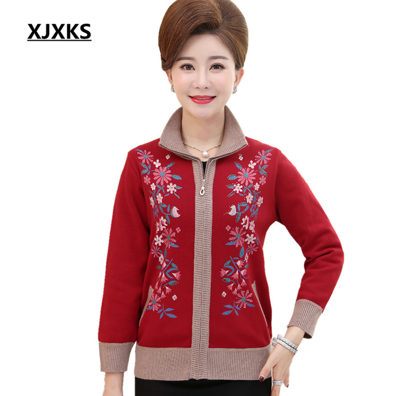 XJXKS Casual Women Cardigans Sweaters Coat Flowers Print Lifelike Large Size Pockets Middle Aged Clothing Sweater