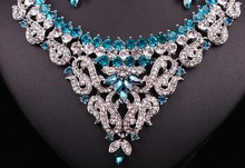 Fashion Indian Style Crystal Rhinestones Necklace Earrings Set, Silver Plated Bridal Jewelry Sets